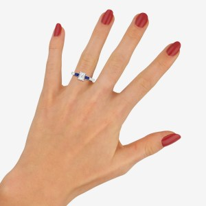 GIA Certified Art Deco Diamond and Sapphire Ring
