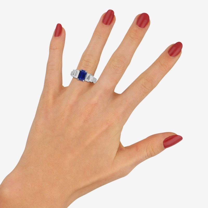Royal Blue Sapphire and Diamond Five Stone Ring