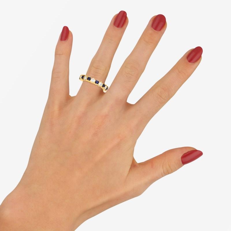 18ct gold sapphire diamond eternity ring