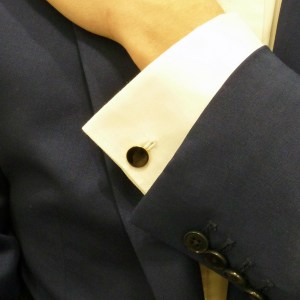 9k gold round black enamel chain link cufflinks