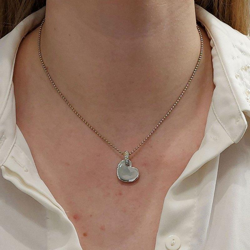 18k white gold diamond Wempe heart pendant