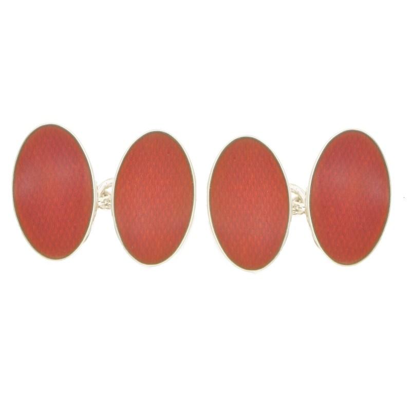 Orange oval enamelled cufflinks
