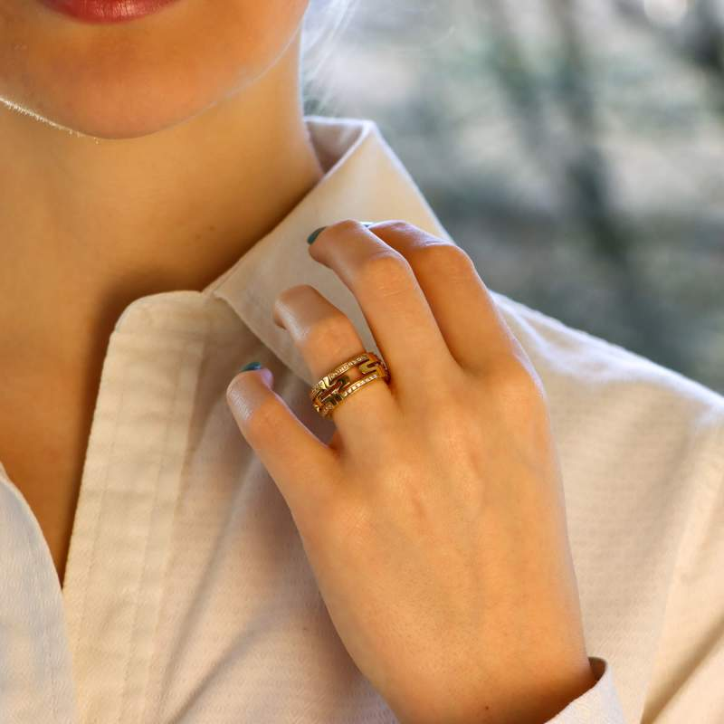 Bulgari Parentesi Diamond Ring 18kt Yellow Gold