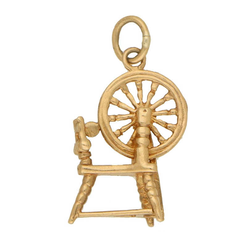Vintage Spinning Wheel Charm in Yellow Gold