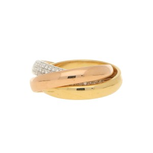 Diamond Trinity Ring Set in 18k Tri-Gold