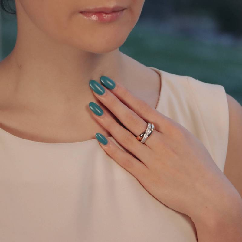 Trinity ring with full diamond set band in 18k tri-colour gold.