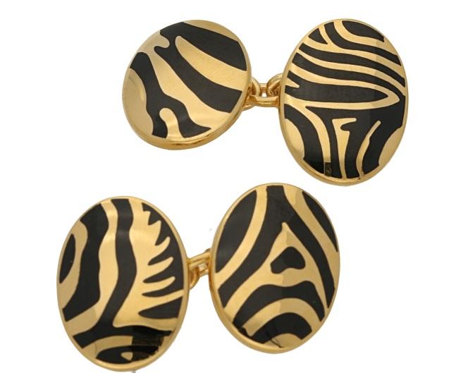 Zebra enamel chain link cufflinks in sterling silver