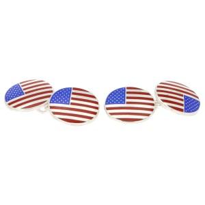 Men's American falgs enamel link cufflinks in sterling silver
