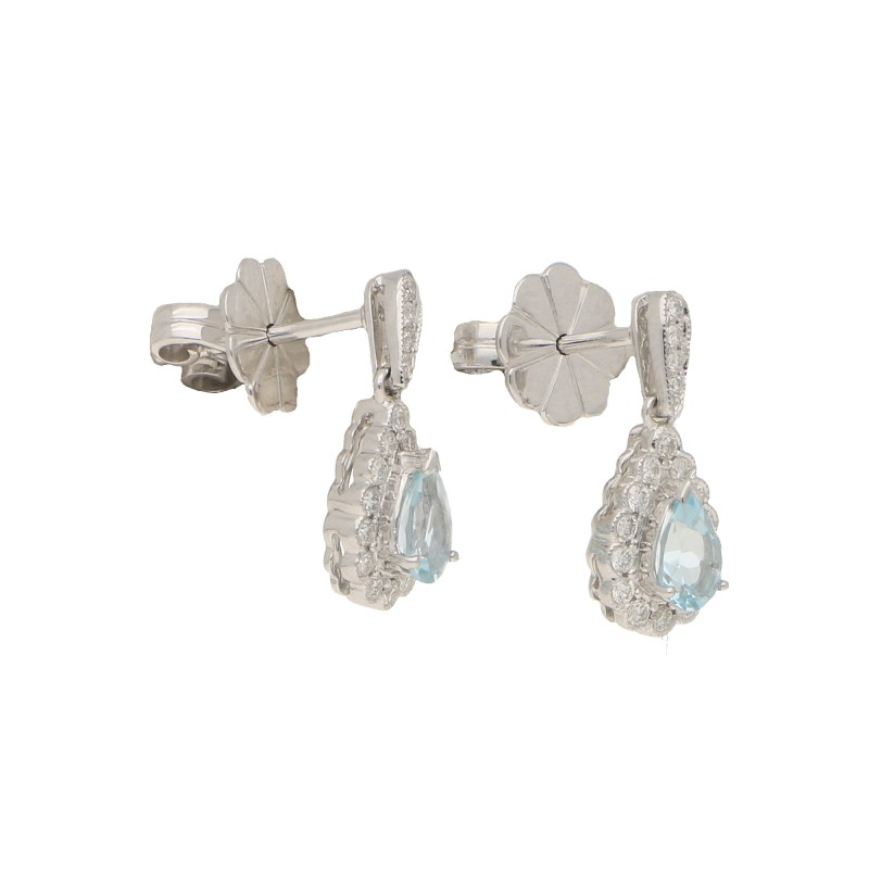 Aquamarine and diamond cluster earrings in 18k white gold.