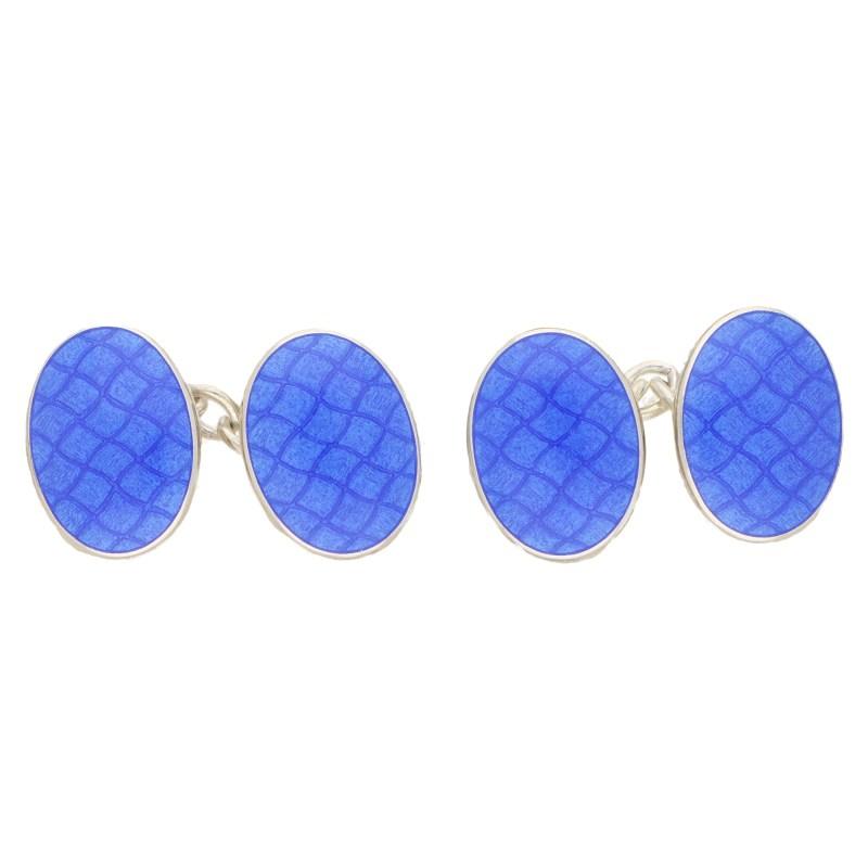 Men's blue  enamel chain link cufflinks in sterling silver