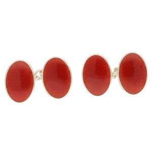 Men's red enamel chain link cufflinks in sterling silver