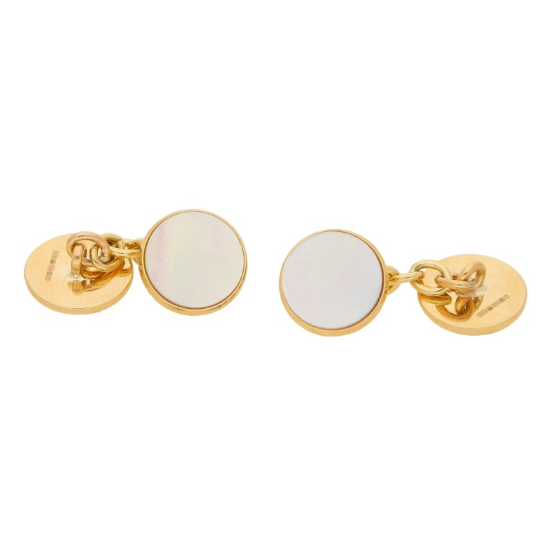Mother of pearl and 9ct gold chain link cufflinks