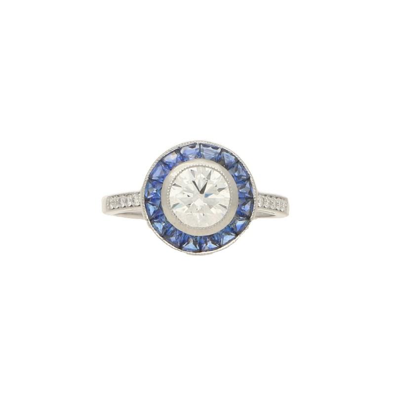 Sapphire & Diamond Target Ring