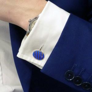 Red and blue enamel stripey cufflinks