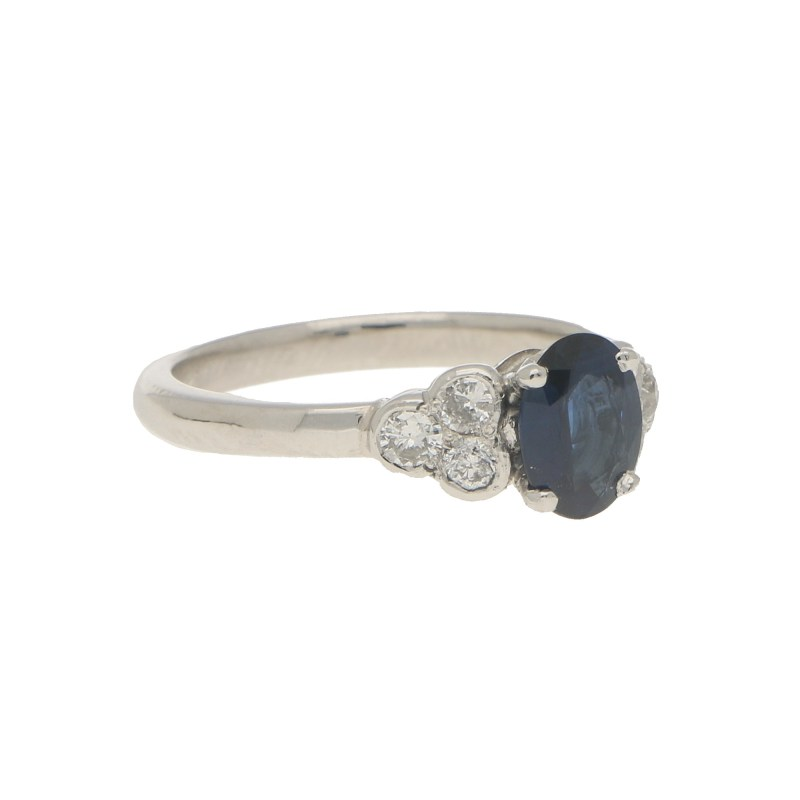 Sapphire and Diamond Engagement Ring Set in Platinum