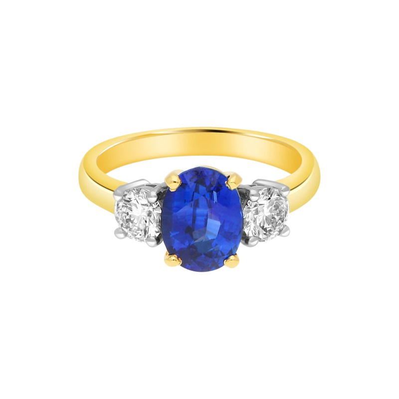 Royal Blue Sapphire and Diamond Three Stone Engagement Ring