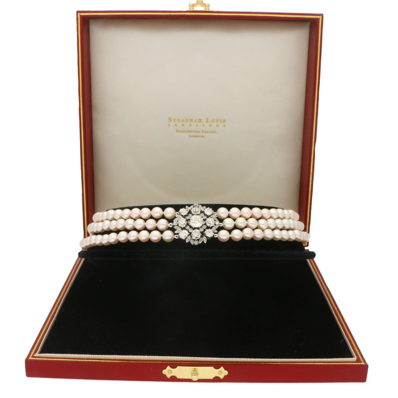 Diamond and Pearl Edwardian Choker Necklace