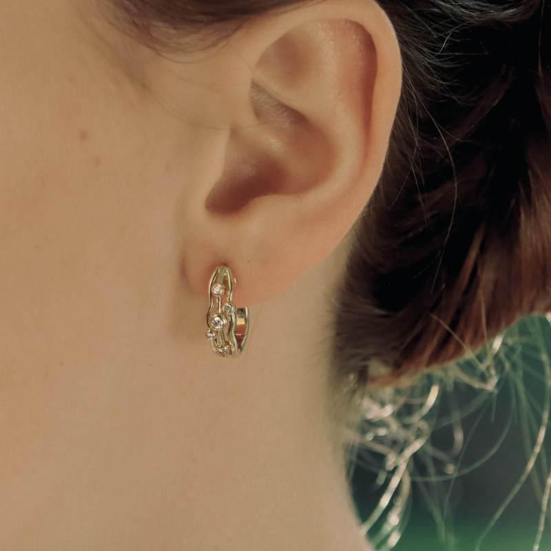 Diamond Bubble Huggy Hoop Earrings