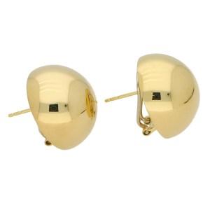 Large Circular Dome Earrings in 14k Yellow Gold