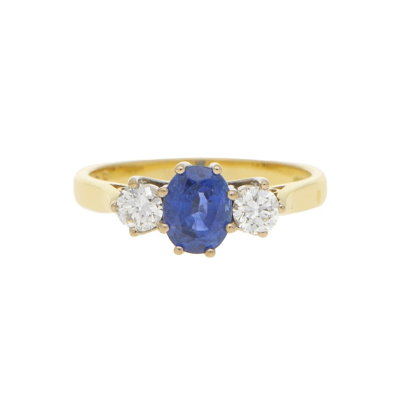 Sapphire and Diamond Trilogy Engagement Ring