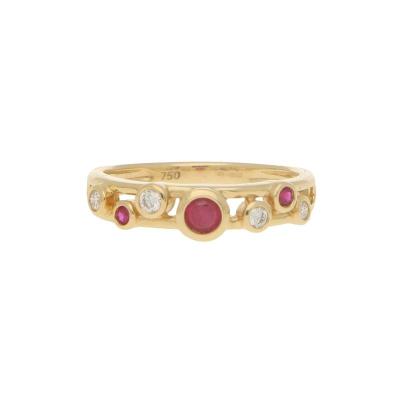 Ruby and Diamond Retro Bubble Ring