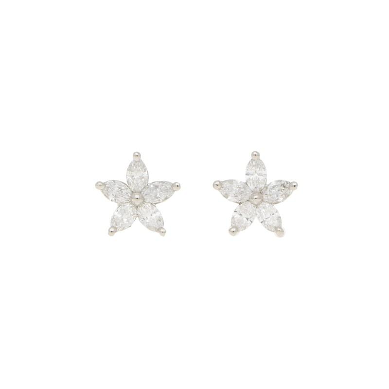 Marquise Diamond Flower Earrings