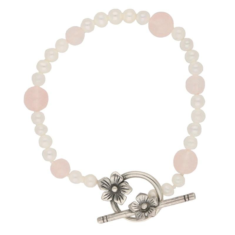 Pearl and Rose Quartz Silver Bracelet