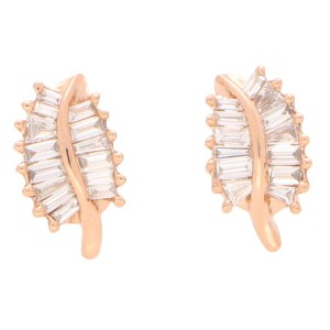 Baguette Cut Diamond Leaf Studs in Rose Gold