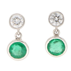 Diamond and Emerald Drop Stud Earrings
