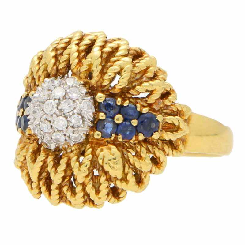 1960's Diamond and Sapphire Floral Cocktail Bombe Ring