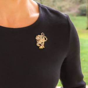 Diamond, Ruby and Black Enamel Tiger Pin Brooch