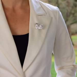Sapphire Shih Tzu Dog Pin Brooch