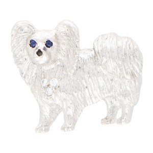 Sapphire and Diamond Papillon Dog Pin Brooch