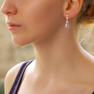 Briolette Blue Topaz and Diamond Drop Earrings