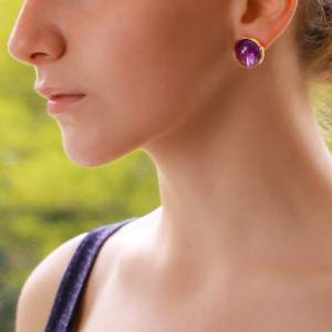Large Purple Amethyst Dome Earrings