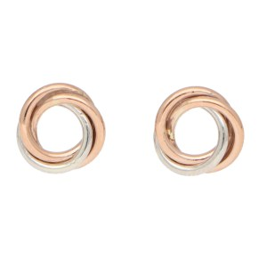 Woven Knot Stud Earrings in Rose and White Gold