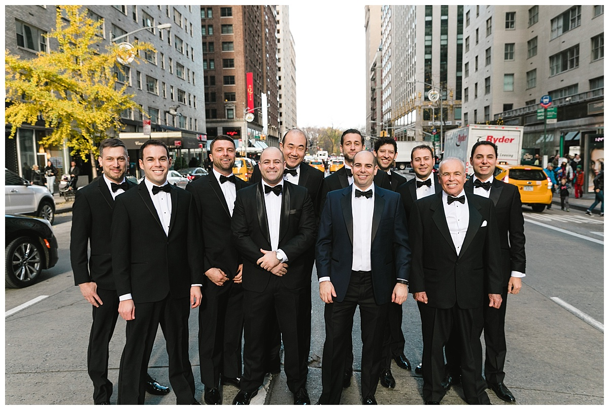 A portrait of a groom and his groomsmen on wedding day at Guastavinos in New York City.
