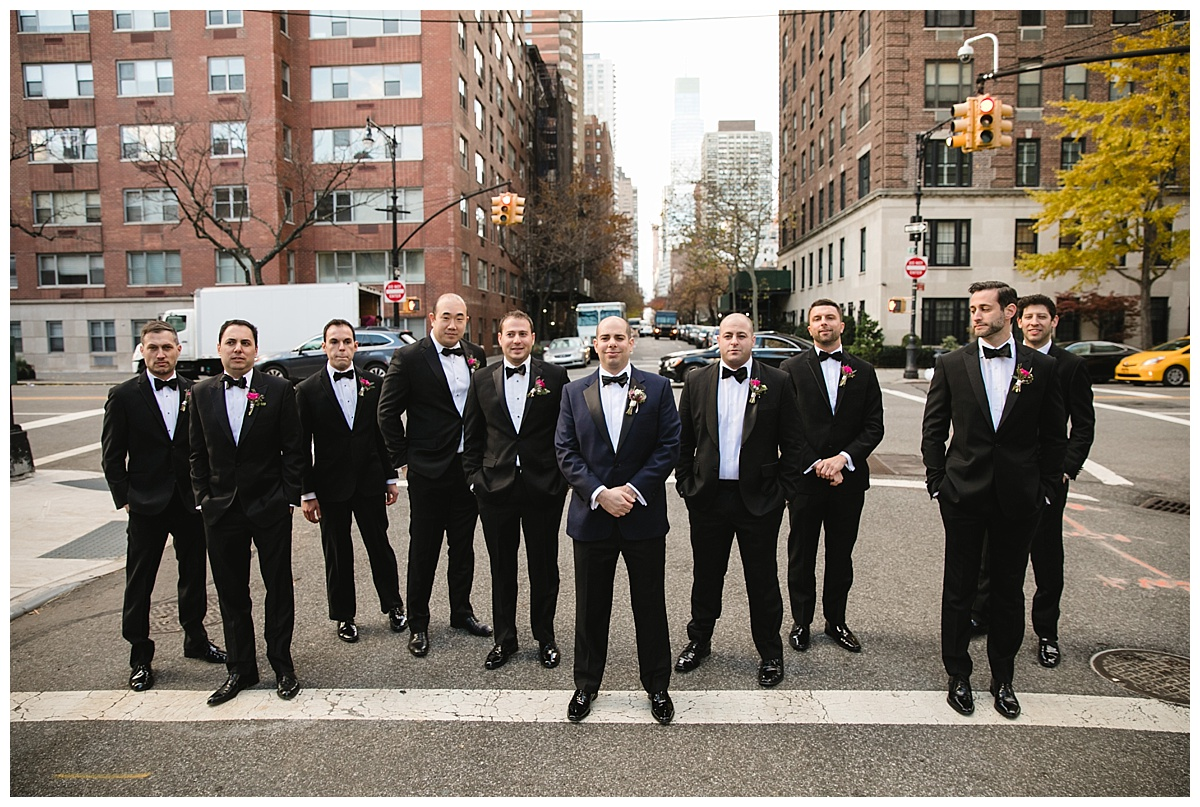 A portrait session of a groom and his groomsmen on a wedding day at Guastavinos in New York City.