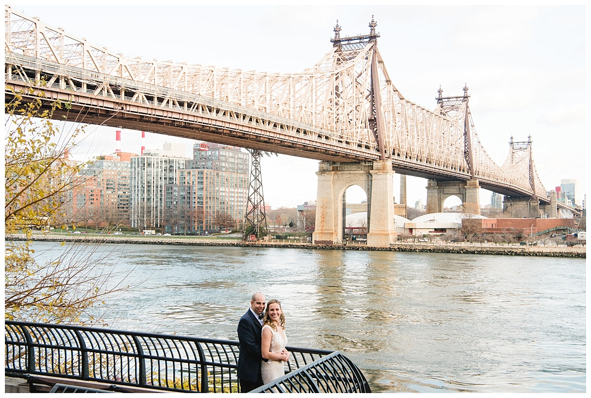 A portrait session of a groom and a bride on a wedding day at Guastavinos in New York City.