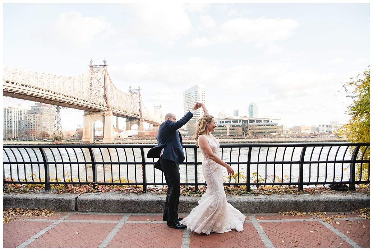 A portrait session of a groom and a bride on a wedding day at Guastavinos in New York City. Dress by Ines Di Santo.