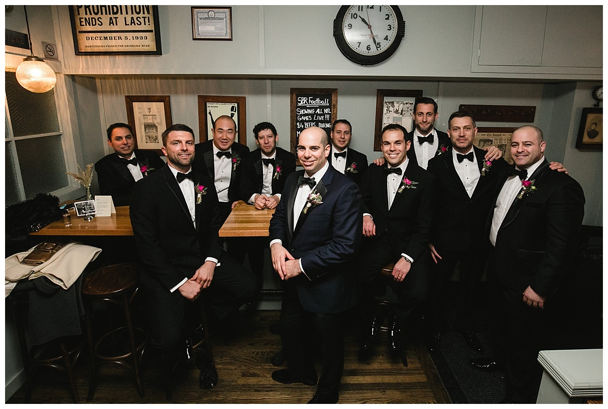 A groom and his groomsmen on a wedding day at Guastavinos in New York City.
