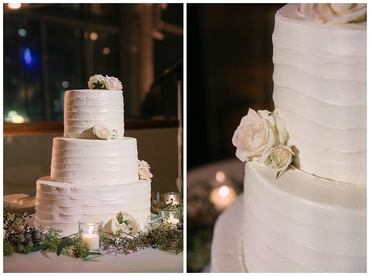 A wedding cake at Gustavinos in New York City.