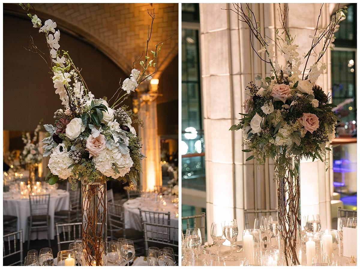 An interior setting of a wedding reception at Guastavinos in New York City.