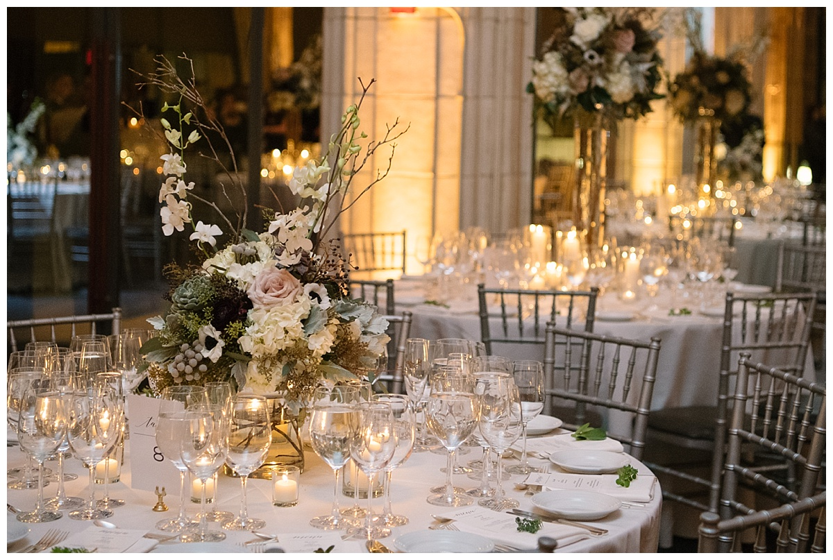 An interior setting of a wedding reception at Guastavinos in New York City.