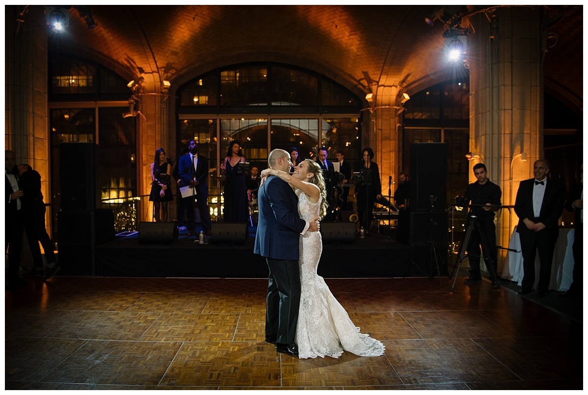 A first dance of a newly wedded couple during their wedding reception at Guastavinos in New York City. Dress by Ines Di Santo.