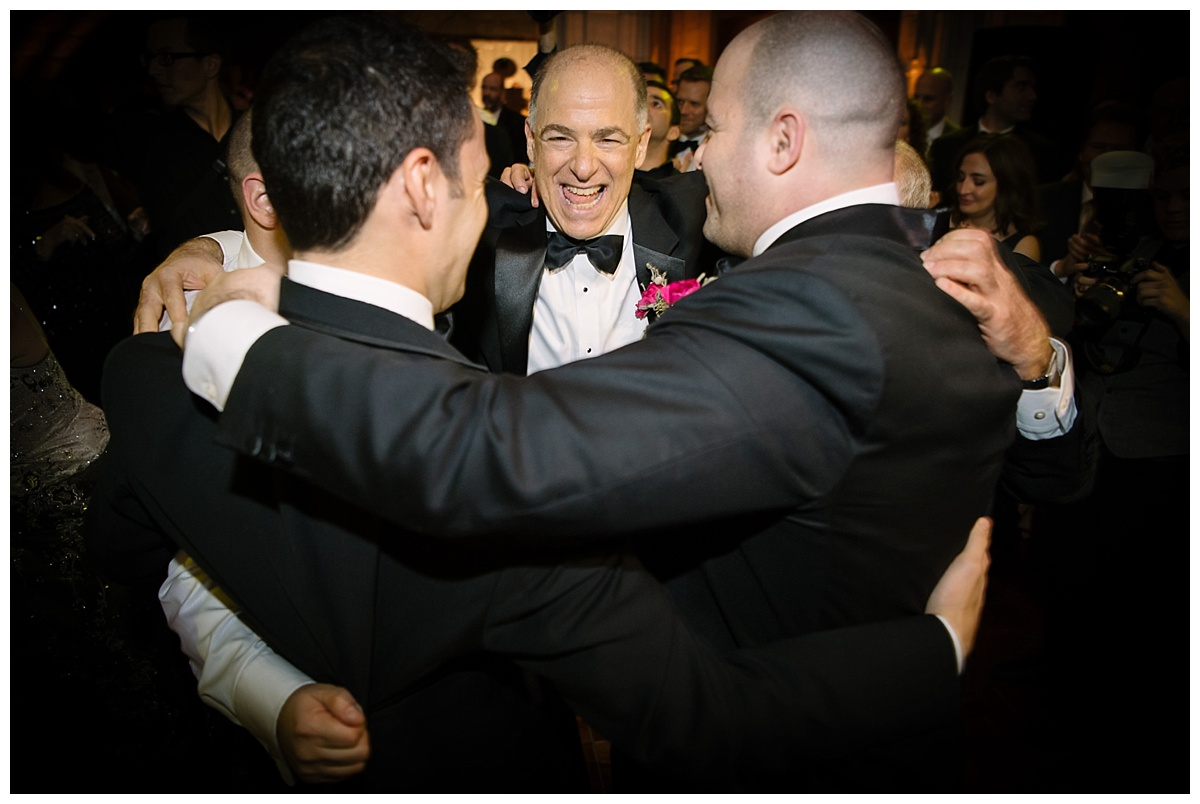 Wedding guests dancing during a wedding reception at Guastavinos in New York City.