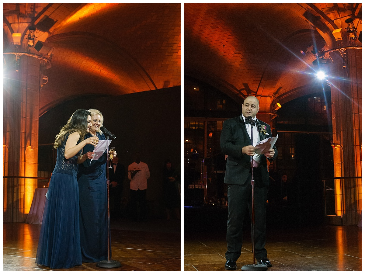 A wedding speeches from bridesmaids and a best man during a wedding reception at Guastavinos in New York City.