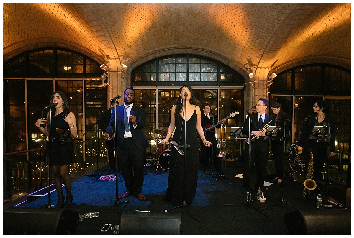 Storytellers performing a live music during a wedding reception at Guastavinos in New York City.
