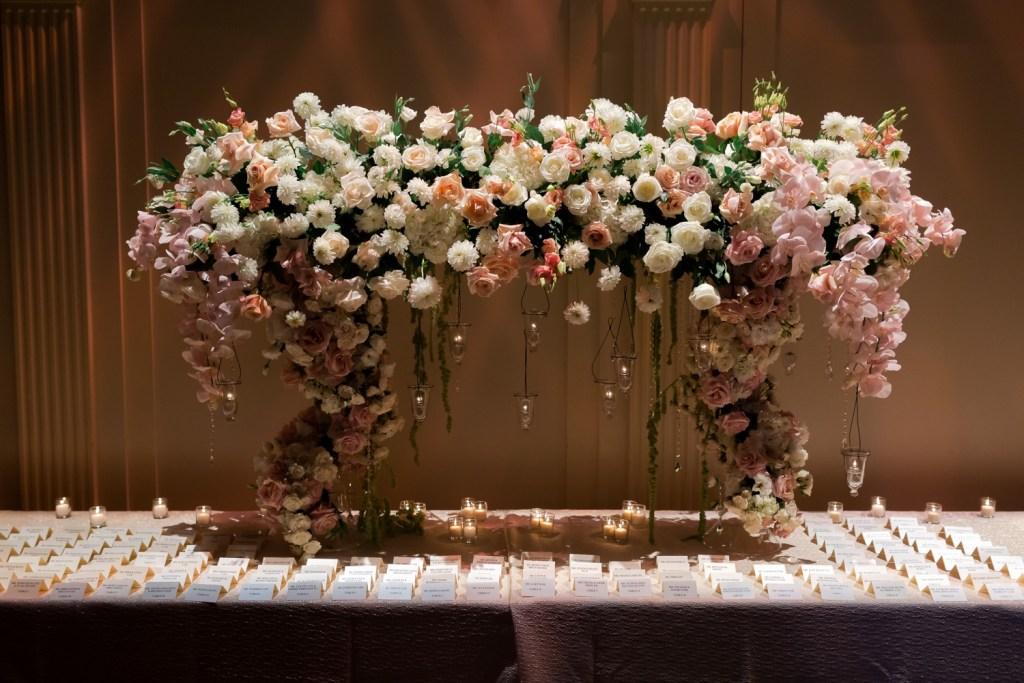 A wedding ceremony setting at Cipriani Wall Street in New York City.
