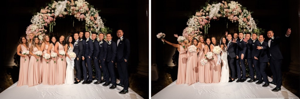 A portrait session of a newly wedded couple and their wedding party at Cipriani Wall Street in New York City.